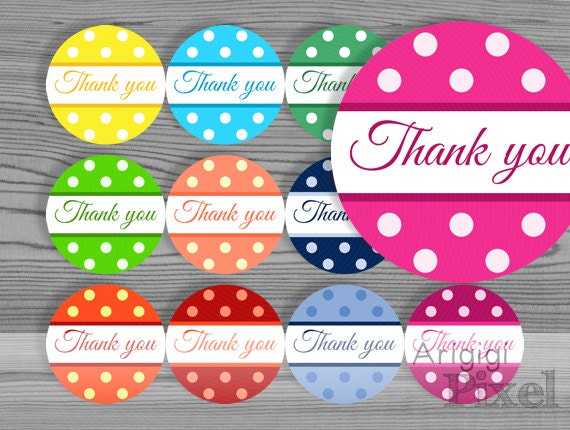 Printable round label, Thank you polka dot circle, DIY sticker 2.5 in size, for party favor, homemade gift, jar decoration download
