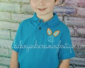 Monogrammed Polo Embroidered Shirt-Easter Shirt-Bunny Shirt-Easter Bunny-Spring Shirt-Easter-Boys Shirt