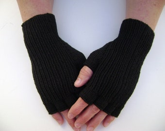 Half-Finger Gloves in Black. Hand Warmers. Mittens. Snug-fitting Gloves. Hand-Knit. Ready to Ship.