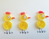 Quilled Yellow Chicks Card, quilled art, funny and unique greeting blank card