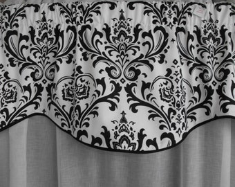 Window Treatment Valance, black and white valance, window valance, black and white curtain