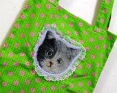 Cat Bag Kitty Tote Kitten Handbag Pastel Goth Kitsch Grunge Neon Green Floral Kawaii Cats Decora Lilac Lace Lolita Accessory