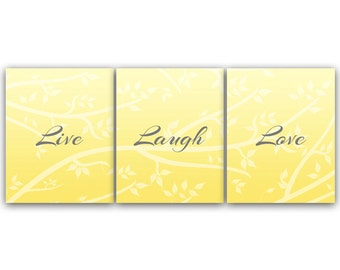 home decor wall art live laugh love instant download yellow grey art tree