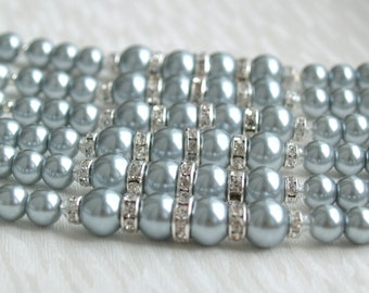 Gray Pearl Bracelet, Bridesmaid Gift Jewelry, Light Grey bracelet, Bridesmaid Gift, Bridesmaid Jewelry, Beaded Bracelet, Rhinestone Bracelet