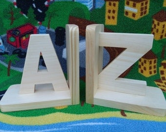Handmade, eco-friendly wooden bookends (A & Z) kids room, nursery decor, child's bookends