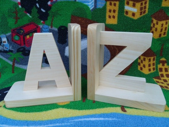 handmade eco friendly wooden bookends a z kids room