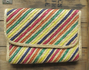 Vintage 80's Woven Multicolored Clutch