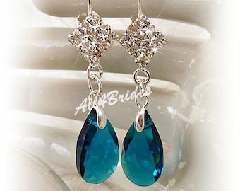 Peacock blue teardrop crystal earrings, bridal earrings, bridesmaids earrings