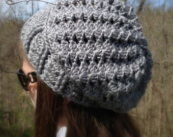 Crochet ladies slouch hat - slouchy beanie with lacy look - Custom made to order