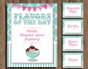Ice Cream Sundae Bar Topping Cards and Sign Kit - PRINTABLE - Vintage - Turquoise and Pink - Tent Cards - CUSTOMIZED