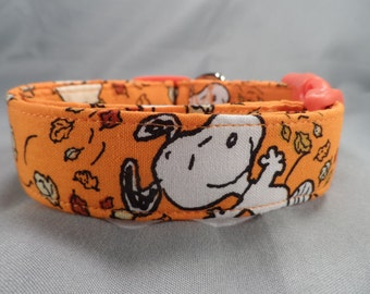 Licensed Fabric Fall Leave Snoopy Dog Collar