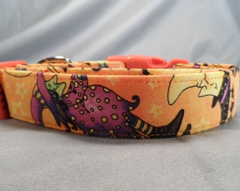 Witches on Orange Halloween Dog Collar