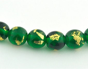 Royal Green & Gold Lampwork Glass Bead Set
