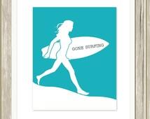 Surfer girl, girls wall art, nautical girls art, Gone surfing,  surf wall art, teen girl room decor, teen wall art, custom colors