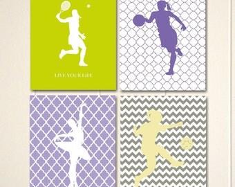 Girls wall art, girls room decor, girls bedroom art, basketball, tennis, soccer girl, girls sports, set of 4