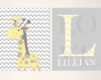 Baby girl monogram art, giraffe nursery art, baby girl nursery art,grey yellow nursery, personalized nursery art, set of 2
