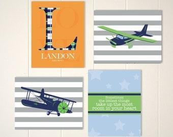 Airplane nursery art, baby boy nursery, plaid nursery, toddler boy art, boys room, monogram, airplanes, toddler boy wall art, set of 4