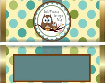 Various Owl Designs, Baby shower,  Baby Boy Candy Wrappers
