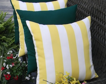 "SET OF 4  - 17"" Yellow and White Stripe & Solid Hunter / Forest Green Indoor / Outdoor Decorative Throw Pillows"