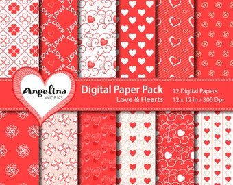 12 Coral Red Valentine Scrapbook Paper for invites, card making, digital scrapbooking, wallpapers