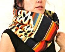 Ininity loop scarf ethno inspired with aztec pattern, loop shawl, circle scarf, neckwarmer, colored infinity loop shawl