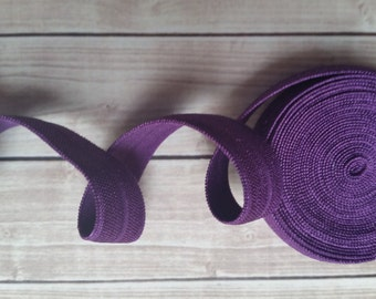 5/8 PLUM Fold Over Elastic 5 or 10 Yards