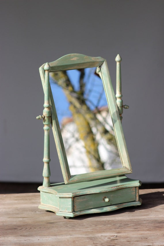 Light Green Vintage Table Top Vanity Mirror With Drawer
