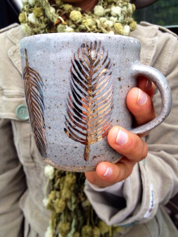gold feather mug