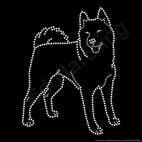 Siberian husky outline rhinestone iron on crystal bling for Create your own iron on transfer for t shirt