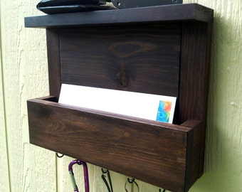 Mail and Key Holder with Top Shelf / The Kona Mail Organizer / Walnut Color / Letter Holder