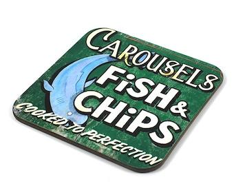 Wooden Coaster, Fish & Chips Coaster, Photo Coaster, Handmade