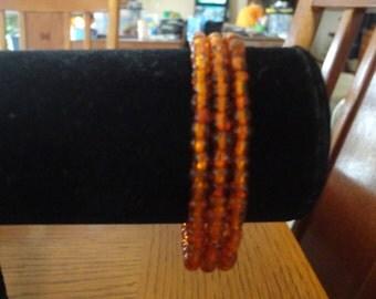 Memory Wire Bracelet-Orange Glass Seed Bead