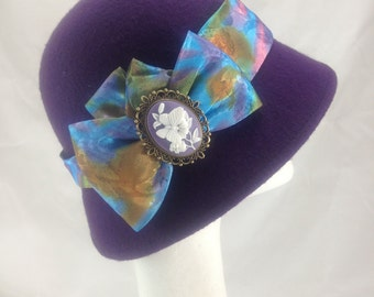purple vintage hat, 1920s hat ,Cloche hat , cameo brooch , mothers day gift