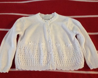 CLASSIC white L/S sweater jacket size 12 mos.