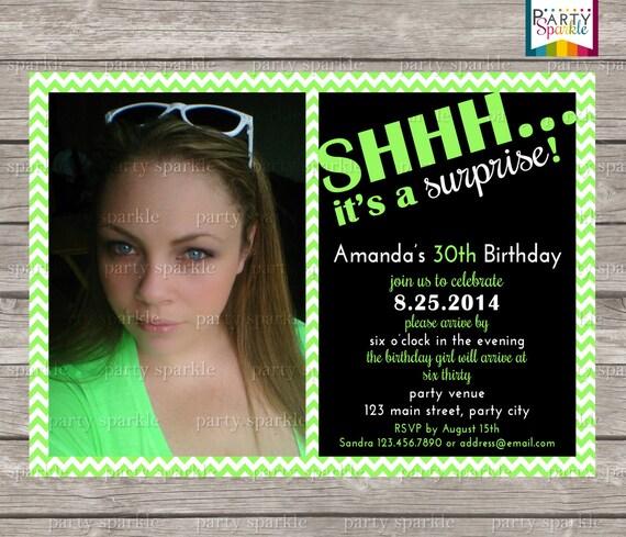SHHH Chevron Surprise Birthday Invite With Photo Choose