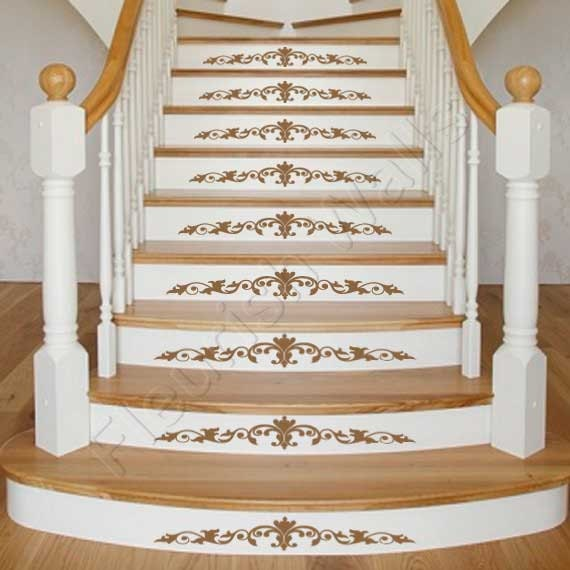 Vinyl Stair Decals Damask Decal Scroll For Staircase Riser