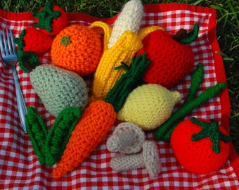 Crochet Toy Food Group - 15 Fruits and Veggies