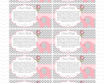 Girl baby shower invitation Book raffle bring a book instead of a card elephant baby shower invitation (50lptr1)