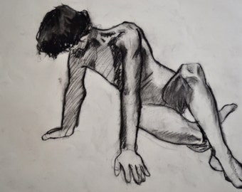"Drawing | Charcoal | Figure Drawing | Art Drawing | Original Drawing | Black and White Art | Fine Art | 11""x14"" Drawing ""Fallen Man"""