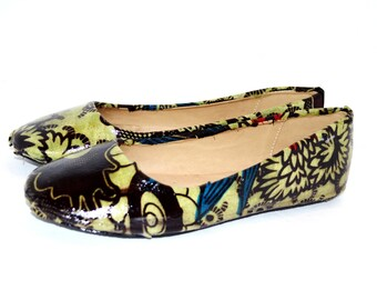 Olive  African Print  Shoes,Luxury Bridal Flats, wedding shoes, prom party shoes