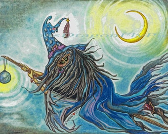 Mystical Flying Witch on Broom and Crescent Moon Colored Pencil Art Digital Download