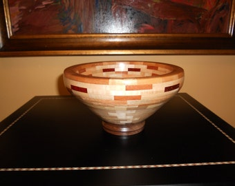 Turned Segmented Wood Bowl 7 Woods- 235 Pieces