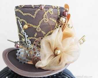 Steampunk Mini Top Hat, Brown Top Hat, Steampunk Cosplay, Steampunk Costume, Steampunk Hair Accessories, Women Mini Hat, Women Fascinator