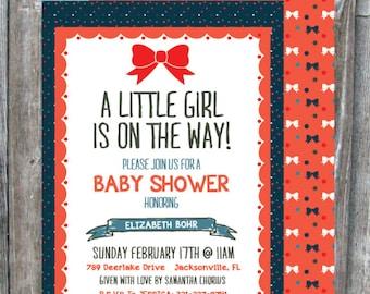 5x7 Bow Baby Shower Invitation - GIRL - Digital Download