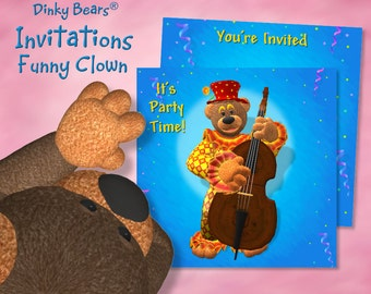 Dinky Bears Clown Playing Contrabass Invitation - Digital Download