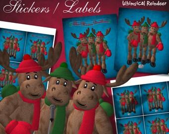 Whimsical Reindeer Moose Brothers Stickers - Digital Download