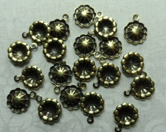 "Vintage gold plate brass dapped drops,3/8th"" diameter, 20pcs-CMP69"