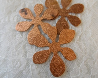 "Raw copper plated steel flower blanks,1&5/8th"",10pcs(3 shown)KC393"