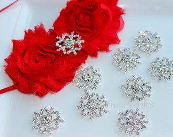 Snowflake  Metal Rhinestone Embellishment FLATBACK  22mm - You Choose QUANTITY