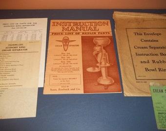 Cream Separtors Instruction Manual / Sears, Roebuck and Co. 1930's /Economy King Cream Separator